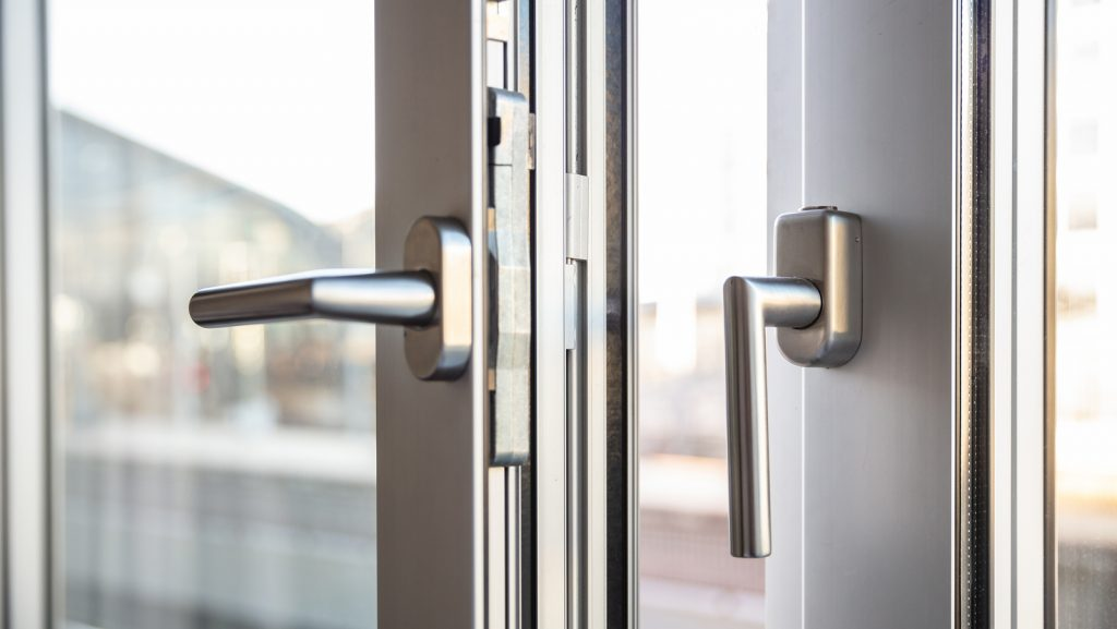 bigstock Close Up View Of Aluminum Door 268919686